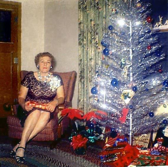 vintage christmas trees and women - Vintage Christmas Photos